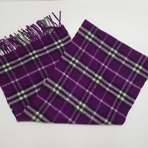 Burberry Cashmere Purple Plaid Scarf
